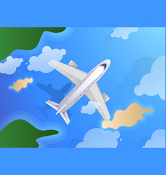 top view of plane or jet aircraft flying over vector image