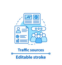 traffic sources concept icon vector image