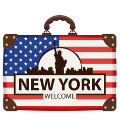 Travel bag with flag of usa and statue of liberty vector