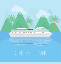 travel banner with cruise liner time to travel vector image