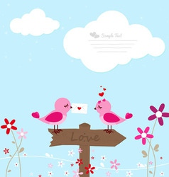 Two pink birds with love letter vector image