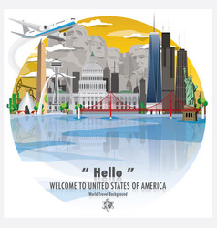 United states of america landmark travel and vector