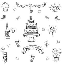 Wedding party doodle art vector image