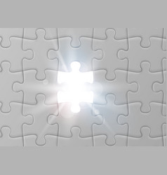 White jigsaw puzzle with missed and shining piece vector