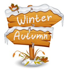 winter wooden arrow icon vector image