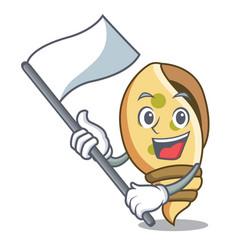 With flag sea shell mascot cartoon vector