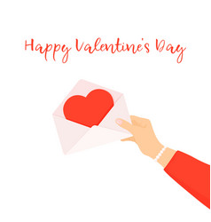woman hands holding love letter happy valentines vector image