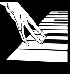 women s hands on the piano vector image