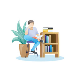 young student reading vector image