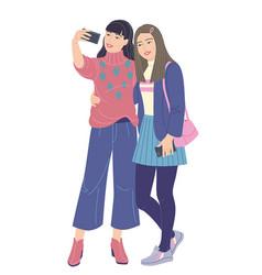 young women taking selfie photo on smartphone vector image