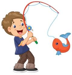 Cartoon boy fishing vector