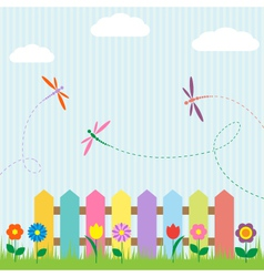 Colorful fence with flowers and dragonflies vector image vector image