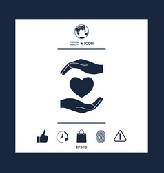 hands holding heart vector image vector image