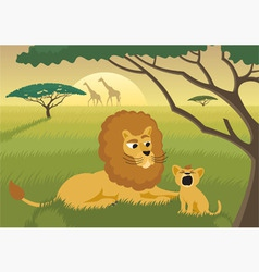 lions in wild vector image vector image