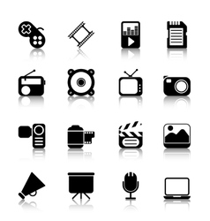 Multimedia Icons with reflection vector image