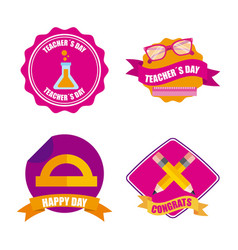 set of teachers day celebration badge decoration vector image