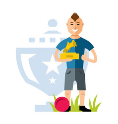 soccer player with the award at the hands vector image