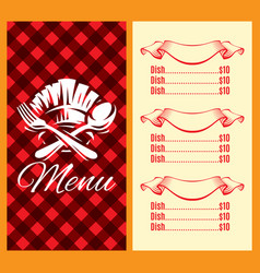 template for menu design with fork spoon vector image