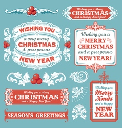 Christmas retro banner label collection vector image vector image