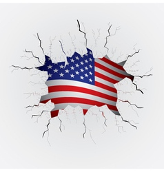 Cracked plaster with USA flag vector image vector image