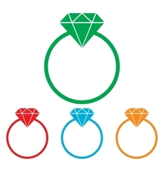 Diamond sign Colorfull set vector image vector image