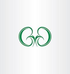 green healthy kidneys symbol vector image
