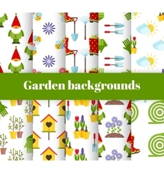 hand drawn garden icons background vector image vector image