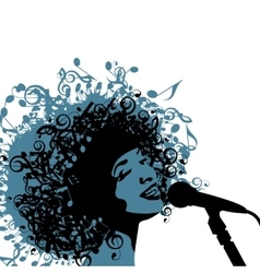 Head of Woman with Hair as Musical Symbols on a vector image vector image