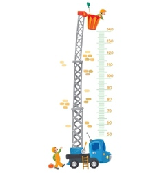 Meter wall with two funny workers and machine-lift vector image vector image