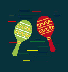 mexican red and green maracas music folklore vector image vector image