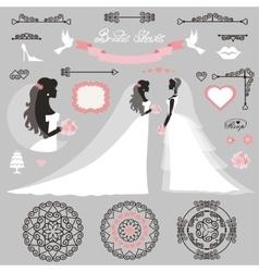 Bride setwedding bridal shower decor vector