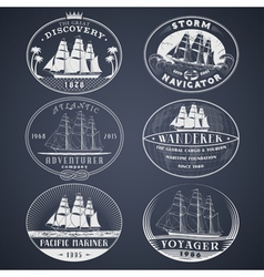 Nautical labels white vector image vector image