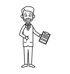 outlined man doctor character image vector image