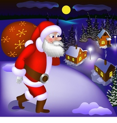 Santa Claus coming with gifts vector image