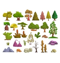 Cartoon nature landscape elements vector image