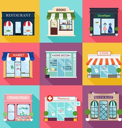 Cool set of detailed flat design restaurants and vector image vector image