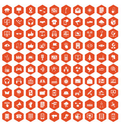 100 communication icons hexagon orange vector