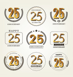 25 years anniversary logo set vector image