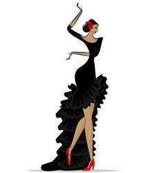 Abstract flamenco woman in black vector