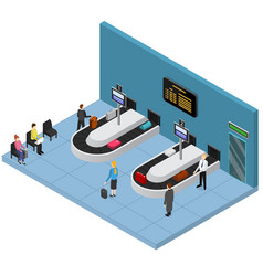 Airport baggage reclaim interior isometric view vector