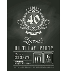 Anniversary birthday card chalkboard background vector image