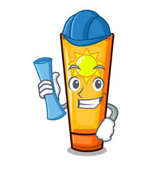 Architect sun cream isolated in character vector