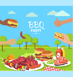 Bbq party colorful poster with cute summer park vector