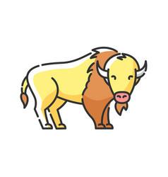 Bison rgb color icon vector