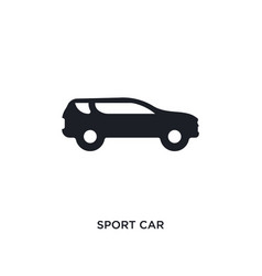 Black sport car isolated icon simple element from vector