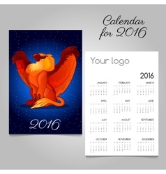 Bright calendar 2016 with Griffon decoration vector image