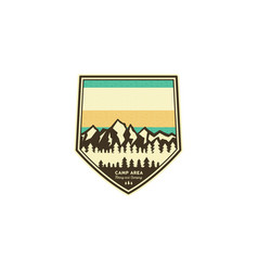 camping and hiking vintage badge mountain vector image