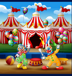 Cartoon clown show and acrobat performance at the vector