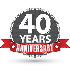 Celebrating 40 years anniversary retro label with vector image