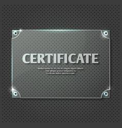 Certificate design on glass plate mockup vector image